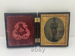 Civil War Tintype Photo Identified Union Soldier Patriotic Background Union Case