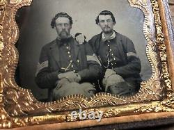 Civil War Tintype Photograph NCO Sergeant And Corporal Soldiers 1/6th Plate