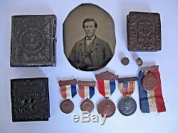 Civil War Tintypes, Photo's, Ephemera, Grave Mark of Union Soldier John W. Hill