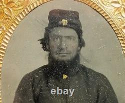 Civil War Union Army soldier, 1/9th plate, cased tintype photo revenue stamp