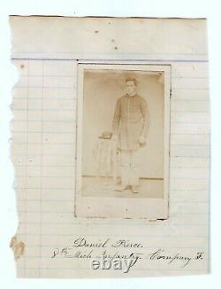 Civil War Union Army soldier, 8th Michigan Infantry, CDV photo, Barry County ID