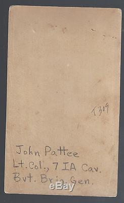 Civil War Union CDV Lt Colonel John Pattee 14th, 41st Iowa Vols, 7th Iowa Cav