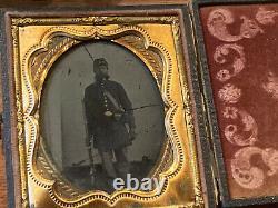 Civil War Union Grouping Named George Allen, Photo, Holster, Cap Pouch, Belt