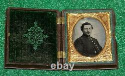 Civil War Union Soldier Ambrotype Photo Daguerreotype Case Patriotic Flag Mat
