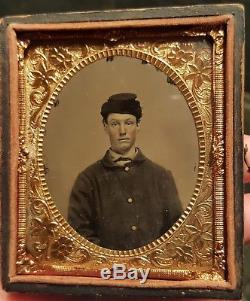 Civil War Union Soldier with great hat tintype half case nice image
