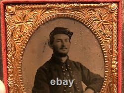 Civil War Zouave Soldier Tintype Photograph ID to E. Black 58th Indiana