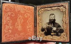 Civil War ambrotype of heavily bearded double armed cavalry soldier excellent