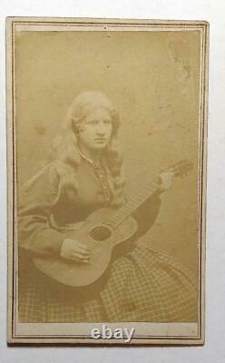 Civil War period CDV Photo Blind Albino Lady Playing a Guitar