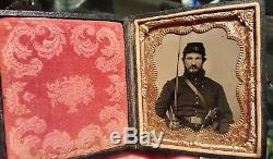 Civil War tintype of double armed cavalry soldier excellent condition