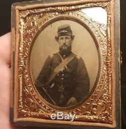 Civil War tintype of officer armed and wearing an officer of the day sash