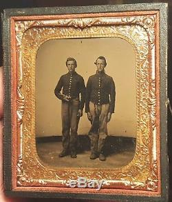 Civil War tintype of two soldiers one holding a revolver nice and clear