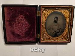 Civil war soldier tintype with cigar (16th New Hampshire, died in service)
