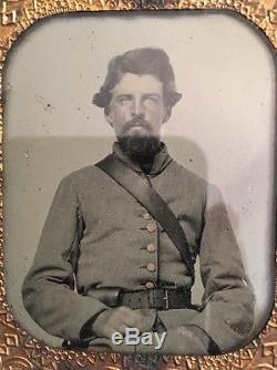 Confederate Civil War Ambrotype 6th plate Virginia Found Gold Gilt Buttons
