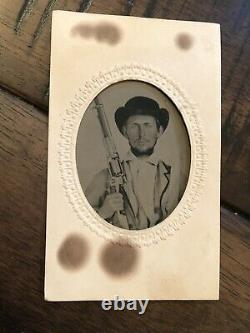 Confederate Civil War Soldier Tintype Armed w Bowie Knife & Colt Revolving Rifle