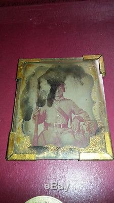 Confederate Soldier Ambrotype Civil War Enfield Rifle Mississippi Kentucky Armed