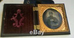 Daguerreotype 1860s Photograph SOLDIER CONFEDERATE Military Coat KEPI CIVIL WAR