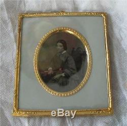 Daguerreotype Photo Portrait of Elegant Lady 1850's Civil War Era Gold Frame