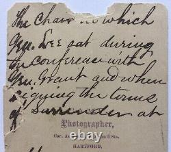 Daniel Camp Civil War CDV Robert E Lee Surrender Chair Signed Edward W Whitaker