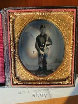 Double Armed Died Andersonville CIVIL WAR TINTYPE 36th PA POW Id'd Wilderness