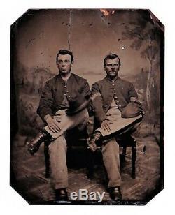 Early Original Civil War Confederate Military Soldier Tintype Photo w Kepi Hat