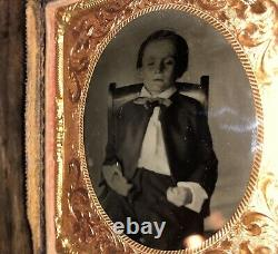 Eerie 1860s / Civil War Era Tintype Photo Post Mortem Boy Propped Up in Chair