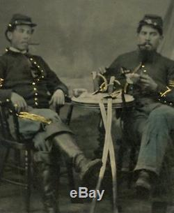 FANTASTIC TINTYPE CIVIL WAR CAVALRY SOLDIERS, SMOKING, DRINKING, RELAXING