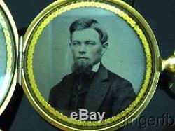 Fabulous Civil War Era Memorial Locket With Tintype Photos