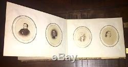 Fine Civil War Era Leather Photo Album & 70 Original Photographs