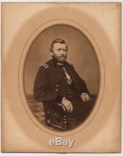 GENERAL ULYSEES S. GRANT VINTAGE c1865 TAX-STAMP WHOLE PLATE CIVIL WAR Albumen