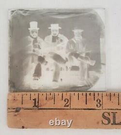 Glass negative 3 men holding revolvers Civil War Era Colt Pistols