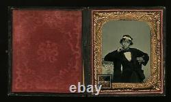 Great Ambrotype Handsome Cigar Smoking Sailor / Navy Man / Civil War 1860s Photo