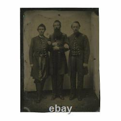 Half Plate Civil War Tintype Featuring 3 Identified Officers of 80th Indiana Reg