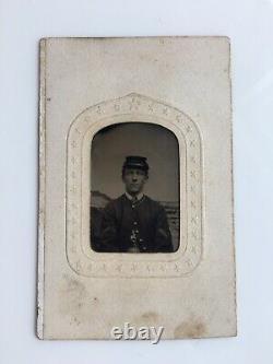 IDENTIFIED 62nd Regt NINTH-PLATE CIVIL WAR TINTYPE CDV UNION SOLDIER, ZOUAV