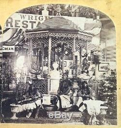 INDIANS At CHICAGO Sanitary Fair Civil War Era Stereoview 1865