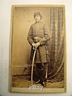 Identified CIVIL War CDV Photo Armed Massachusetts Officer