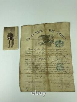 Identified Wounded Civil War Soldier Discharge Paper, CDV Photo & Picture Album
