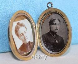 LG Antique Civil War Era 10Kt Gold Pearl Etruscan Mourning Photo Locket Necklace