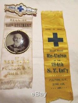 LOOK! LOT OF 16 OF CIVIL WAR REUNION RIBBONS / BADGES ID'd SOLDIER PHOTOS 184th