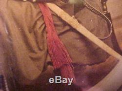 Large CIVIL War Soldier CDV Photo Hand Colored Original Frame Ohio, Ny