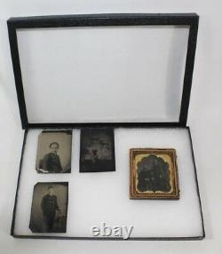 Lot of 4 Civil War-era Late 1800s Plate Tintype Photographs, One with Period Frame