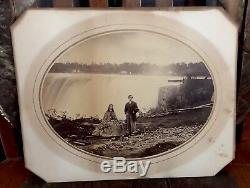 NIAGARA FALLS Original Civil War Era Photo in Frame 1864 Couple on Honeymoon