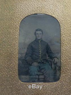 NICE UNION SOLDIER CIVIL WAR TIN TYPE PHOTOGRAPH 47th PA