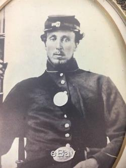 Nice Large Identified Civil War Albumen Photo of Armed Civil War Union Soldier