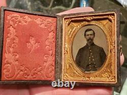 Ninth plate tintype of Civil War soldier in patriotic mat