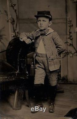 OLD ANTIQUE TINTYPE PHOTO of YOUNG BOY with CIVIL WAR KEPI HAT & SWAGGER STICK