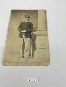 ORIGINAL CIVIL WAR CDV PHOTO New Jersey CAVALRY SOLDIER With Sword Saber