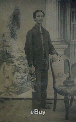 ORIGINAL CIVIL WAR CONFEDERATE MUSICIAN with TRUMPET 34th REGIMENT TINTYPE