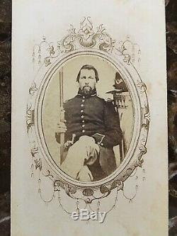 ORIGINAL- CIVIL WAR MOUNTED INFANTRY SOLDIER 2X ARMED with HARDEE CDV PHOTO ID'D