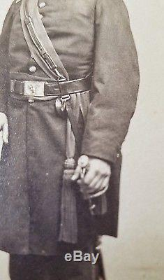 ORIG Civil War ARMED UNION OFFICER CDV New Hampshire 11th Infantry Reg't Kepi