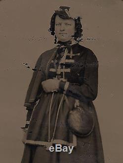 Old Vintage Tintype Photo Patriotic CIVIL War Vivandiere Soldier Nurse & Canteen